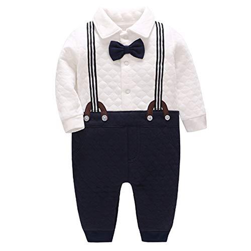 Bebone Baby Jungen Strampler Taufe Hochzeit Babykleidung Langarm Anzug (Blau, 0-3 Monate/59)