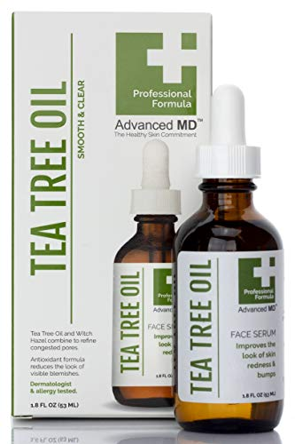 Tea Tree Face Oil Serum by AdvancedMD - Professional Formula To Improve Skin Redness, Refine Pores & Reduce Bumpy Skin. Formulated With Vitamin E And Witch Hazel - 100% Clean Beauty. 1.75 Fl Oz