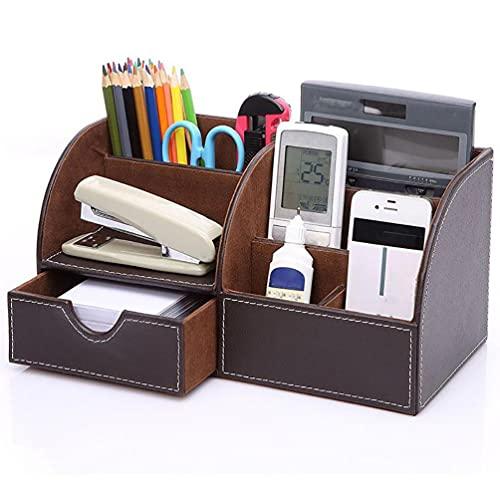 Organizador De Escritorio,cajón Multifuncional Soporte De Escritorio En Cuero De PU Se Utiliza Para Cajas De Almacenamiento De Papelería,tarjetas De Visita,bolígrafos,teléfonos Etc,Brown