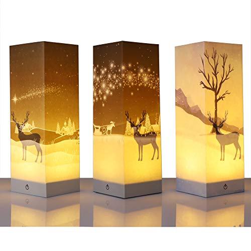 Mestool Set of 3 Christmas Touch Table Lamp, 3D Paper Shadow Lamp, 3 Way Dimmable Bedside Touch Lamp, Reindeer Decorative Nightstand Lamp for Christmas Indoor, Bedroom, Living Room, Office Decorations