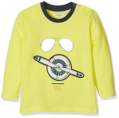 IKKS Junior tee Shirt Ml Aviateur Camiseta, Amarillo (Jaune Vig 73), 3-6 Meses (Talla del Fabricante: 3M) para Bebés