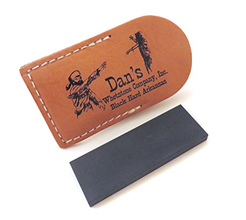 """Genuine Arkansas Black Surgical (Ultra Fine) Pocket Knife Sharpening Stone Whetstone 3"""" X 1"""" X 1/4"""" in Leather Pouch Bap-13A-L"""