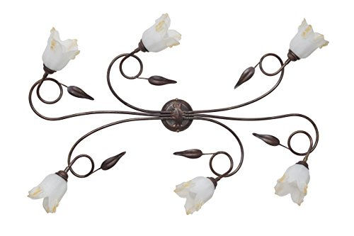 Made in Italy SILVIA Plafonnier classique Lampe de Plafond en fer forgé et lampadaires d'intérieur salon éclairage pour Salon Chambre Lit produit en Italie à Valastro Lighting VALFB34517 PL6 NRO