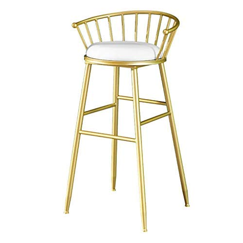 AYU Dining Side Chair, High Backrest, White Velvet Cushion, Gold Metal Frame, Seat Height 29.5 inch, Counter Chair, Bar Stool for Kitchen, Bistro, Coffee, Pub Farmhouse