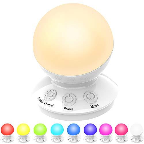 Plartree Luce Notturna a LED, Lampada da Notte Multicolore per Bambini Ricaricabile USB, Lampada da Camera da Letto, 5 Modalità, 16 Colori per Bambini, Amanti, Camera da Letto, Campeggio