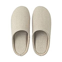 Muji Linen Twill Cushion Slipper, Medium, 23.5-25cm, Ecru