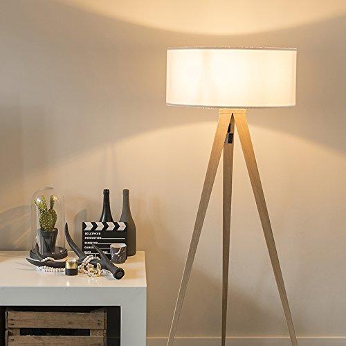 QAZQA Moderno Lámpara de pie TRIPE madera con pantalla blanca/Acero Alargada Adecuado para LED Max. 1 60 x Watt