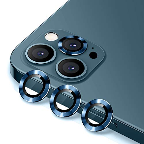 WSKEN Camera Lens Protector for iphone 12 pro 6.1 inch, Premium HD Tempered Glass Metal Ring Aluminum Alloy Lens Screen Cover Film - Blue