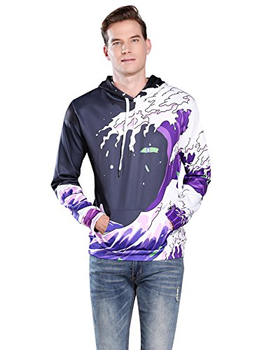 Sankill Unisex Realistic 3d Digital Pullover Sweatshirt Hoodie Hooded Sweatshirt for Christmas Gift S-3XL (l/xl, purple waves)