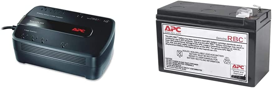 APC UPS, 650VA UPS Battery Backup Surge Protector, BE650G1 Backup Battery, Dataline Protection, Back-UPS Uninterruptible Power Supply Black & UPS Battery Replacement (RBC110)