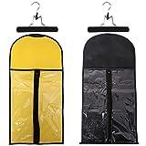 YMHPRIDE 2 pièces sac de rangement de perruque avec étui de transport en bois pliant suspendus extensions de cheveux postiches sac perruques pochette étanche à la poussière organisateur protéger