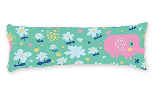 Fhdang Decor Taie d'oreiller de Corps avec Fermeture éclair Maternité Grossesse Long Body Pillow Cover Coton, Coton, Single 3ft (36'')