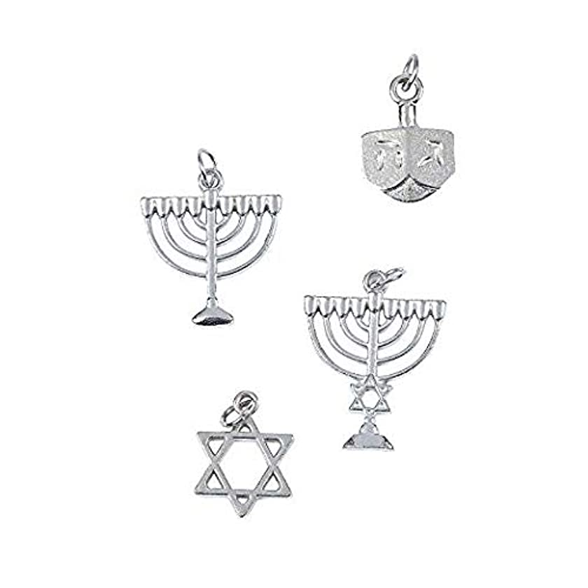 Hanukkah Charms - Assorted Hannukah Charms - Menorah Dreidel and Star of David Bracelet and Necklace Charms (Pack of 8)