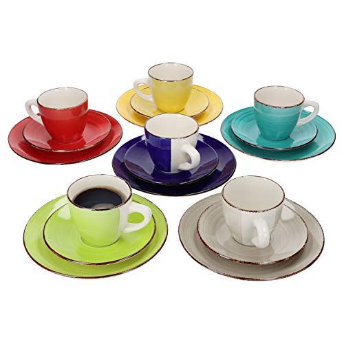 MamboCat 18tlg. Kaffeeservice Malaga I Kaffee & Tee-Gedeck für 6 Pers. I Kaffeetassen + Unterteller + Kuchen-/Dessertteller I abstraktes Design I handbemalt