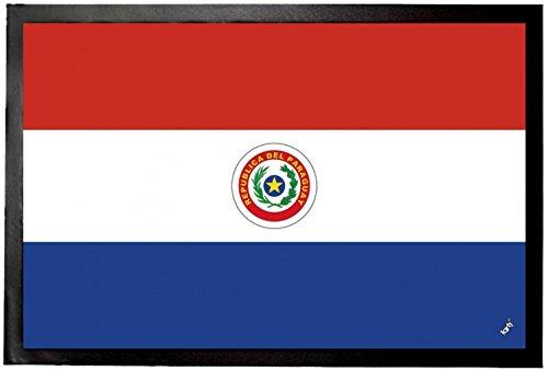 1art1 Paraguay - Flaggen Der Welt Fußmatte Innenbereich & Außenbereich | Design Türmatte 60 x 40 cm
