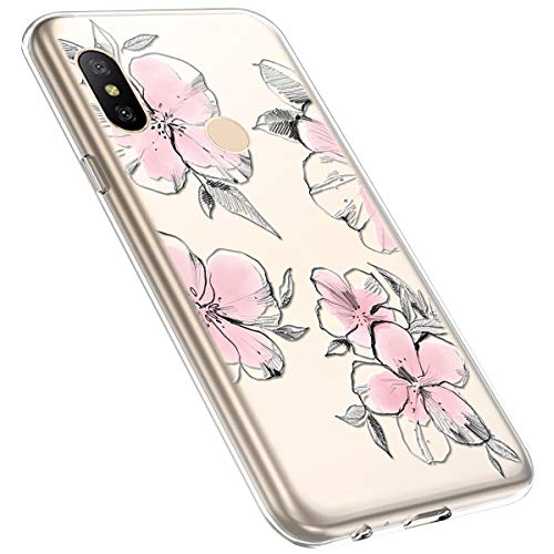 MoreChioce kompatibel mit Xiaomi Redmi Note 6 Pro Hülle,Redmi Note 6 Pro Handyhülle Blume,Ultra Dünn Transparent Silikon Schutzhülle Clear Crystal Rückschale Tasche Defender Bumper,Blumenzweig #28
