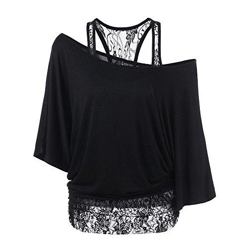 ESAILQ Mode Damen Casual Kurzarm Skew Neck Trägerlosen Blumendruck T-Shirt Tops (L, Schwarz-Y)