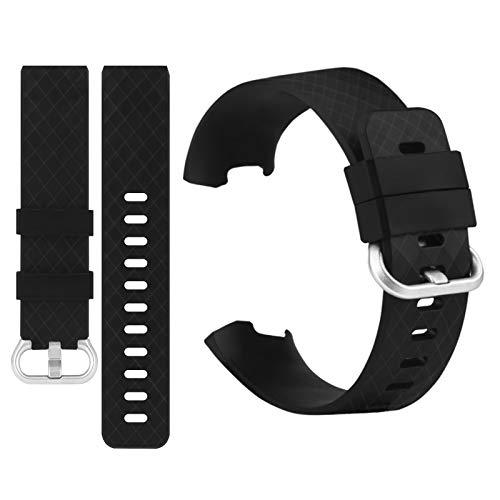 32nd Cinturino con Cinturino in TPU di Ricambio per Fitbit Charge 3 con Fibbia in Alluminio - Taglia Unisex: Piccolo (5.5' - 6.9') - Nero