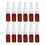 12PCS 10ml/0.34oz Amber Plastic Fine Mist Sprayers Atomizers Empty Refillable Nasal Spray Bottle Travel Makeup Water Container For Saline Water Makeup Water Perfume Essential Oils