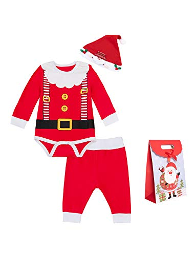 Baby Boy Christmas Clothes Newborn Santa Claus Outfit Xmas Pants Set (3-6 Month) Red
