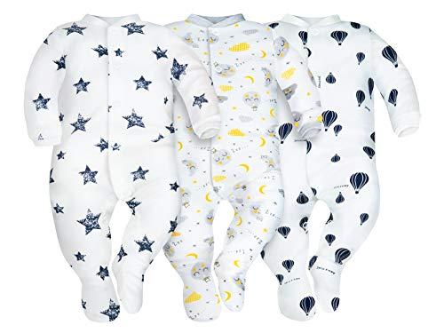Sibinulo Niño Niña Pijama Bebé Pelele de ABS Pack de 3 Globos, Estrellas y Lunas 80(9-12 Meses)