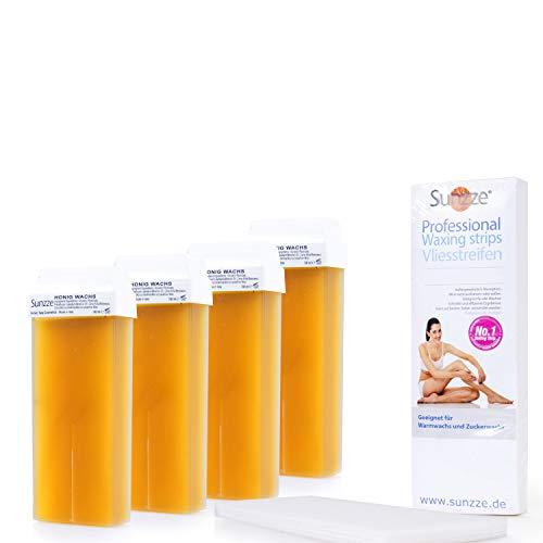 Sunzze - Cartuchos de cera caliente, 4 unidades de 100 ml cada uno con cartucho de repuesto y tiras de fieltro gratis