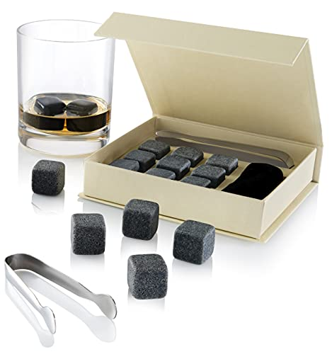 Set of 9 Grey Beverage Chilling Stones [Chill Rocks] Whiskey Stones for Whiskey and other Beverages...