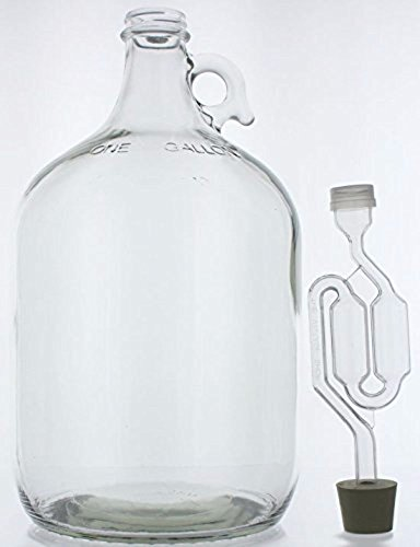 Home Brew Ohio Fermentador de vino de vidrio de 3.8 litros, incluye tapón de hule y cierre de doble burbuja