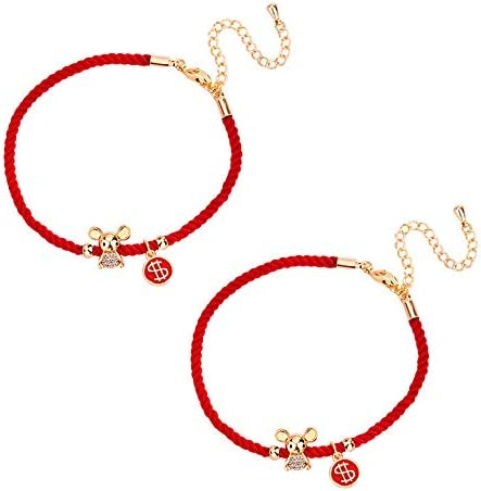 WOZUIMEI S925 Silver Cute Little Linear Shape Blessing Mouse Rat Zodiac Natal Red String Bracelet Style Hand Rope JewelryGolden Mouse Style 925 Silver