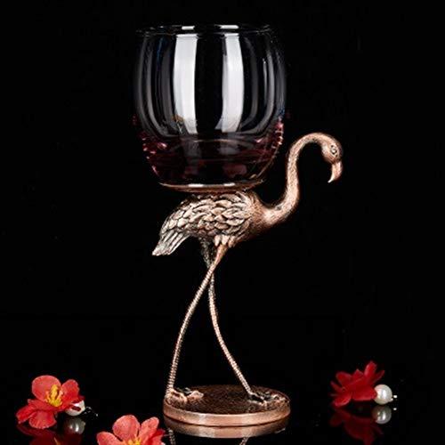 DHJZS Forma de Cristal de Regalo Champagne de Cristal Rojo Copa de Vino de Alta Pie Esmalte del Vidrio de Vino de la Boda del cubilete con el pájaro (Capacity : 301 400ml, Color : B)