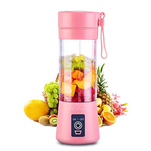 Portable 6 Blades in 3D Juicer Cup,Updated Version Rechargeable Juice Blender Magnetic Secure Switch Electric Fruit Mixer for Superb Mixing 380ml (pink)
