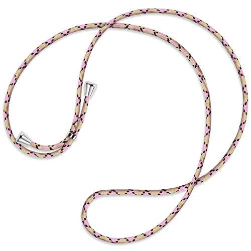 mtb more energy® Vervangend snoer voor hoesjes met koord - Ruit Argyle Roze - inclusief eindkappen (zilver) - hoge kwaliteit - Ketting Band