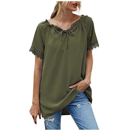 Auifor Lady Spitze Shoulder Shirt, Damen Mode Elegante Casual Shirt Bluse