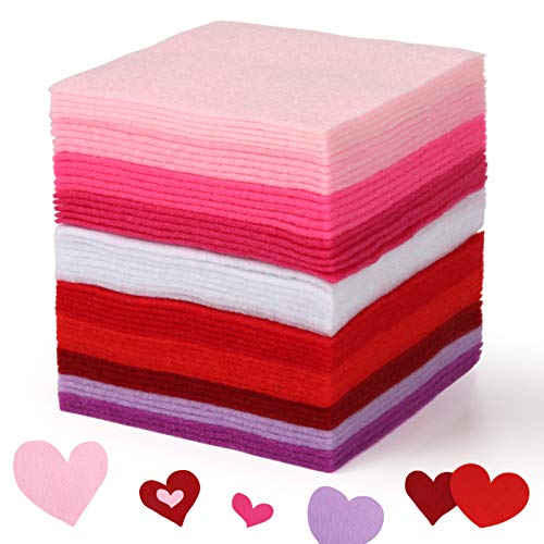 Pllieay 50pcs 10 Colors Valentine's Day Soft Felt Fabric Craft Sheets Assorted Color Felt Sheets with 1.4mm Thick Multi-Purpose for Craft Patchwork Sewing DIY Projects, 4 x 4 Inch