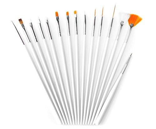 Set di 15 pennelli per la ricostruzione delle unghie Pennelli di acrilico per gel UV Pennelli per il modellaggio delle unghie finte Marchio MyBeautyworld24