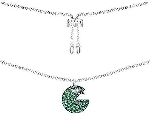 Mxdztu Co.,ltd Collar Elegante Collar para Mujer Plata De Ley Micro Incrustaciones De Circón Verde Menta Cristal Bocado Codicioso Mujer