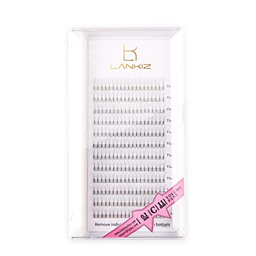 LANKIZ 3D Russian Lashes Volume Fans 0.10mm C Curl 11mm Individual Eyelash Extensions,Cluster Lashes for Salon and Lash Artist