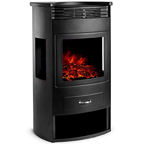 VonHaus 1900W Panoramic Stove Heater – Electric Fireplace with LED Flame Effect – Freestanding and Portable with Overheat Protection – Includes Remote Control