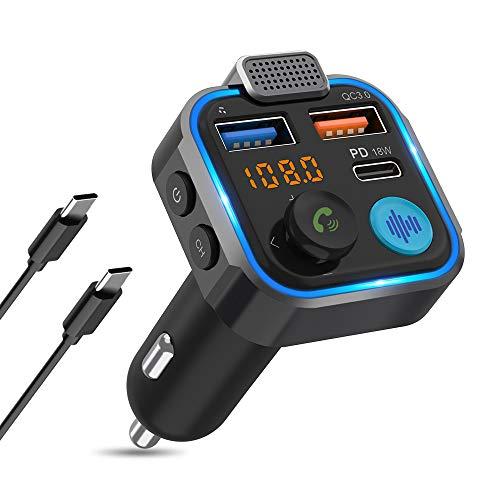 Knofarm Bluetooth FM Transmitter Auto Adapter Bluetooth mit Starkes Mikrofon für Freisprechanrufe, USB-C PD 18W & QC3.0 Auto Ladegerät mit Noise Cancelling Button und Blauem Umgebungslicht