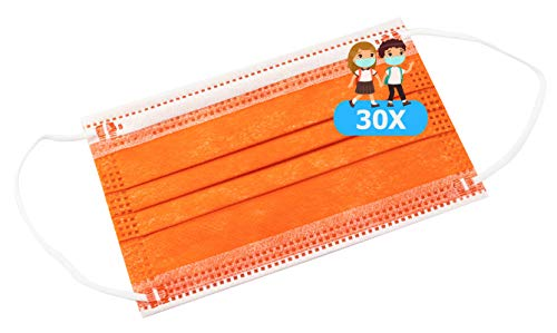 TBOC Mascarilla Higiénica Niños No Reutilizable - [Pack 30 Unidades] 3 Capas [Color Naranja]