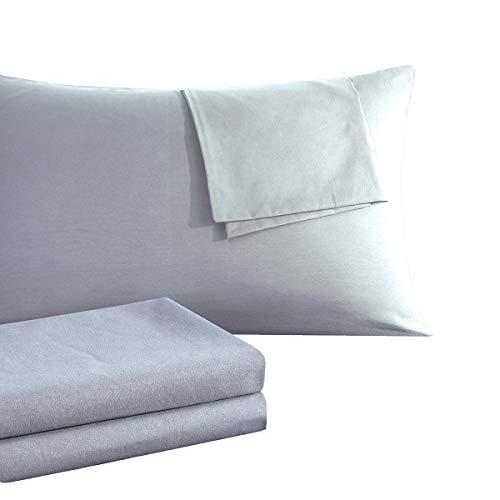 RUIKASI Kissenbezug Kissenbezüge 40 x 80 Doppelpack [2er Set] Atmungsaktive Baumwolle Antistatisch für Haar- und Gesichtspflege Kopfkissenbezug 40x80 Doppelpack - Grau