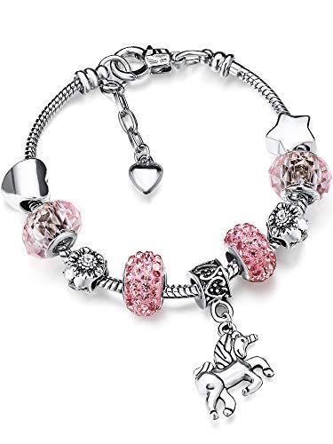 Bracelet Breloque de Licorne Bracelet Strass Cristal Brillant avec Ensemble de Cartes-Cadeaux Licorne pour Fille Dame (Pink, 14)