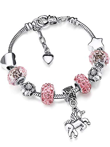 Unicorn Sparkly Crystal Charm Bracelet Bangle with Gift Box Set for Girl Lady (Pink, 18 cm/ 7 Inches)