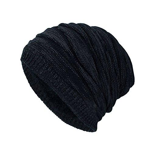 WUAI Men's Winter Knit Warm Hat Ski Baggy Slouchy Beanie Skull Cap (Black-A)