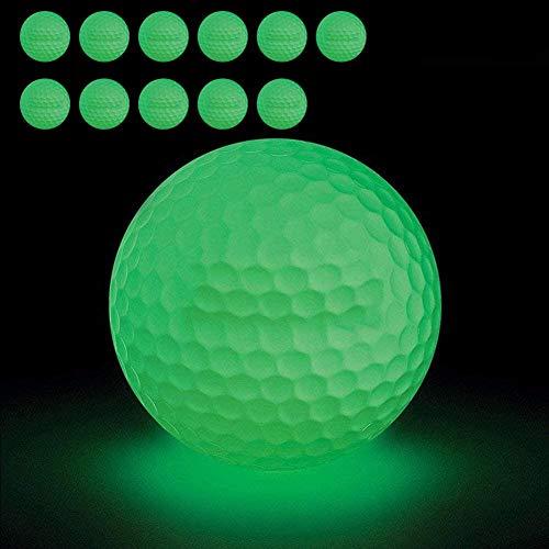 Vintagebee 12 Stück Golfbälle mit Leuchtstoff. Gläzen in der Nacht, Einfach zu finden, ohne Innen-LED
