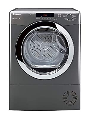 Candy Grand O'Vita GVSC10DCGR Freestanding Condenser Tumble Dryer, Large Capacity, 10 kg Load, Graphite