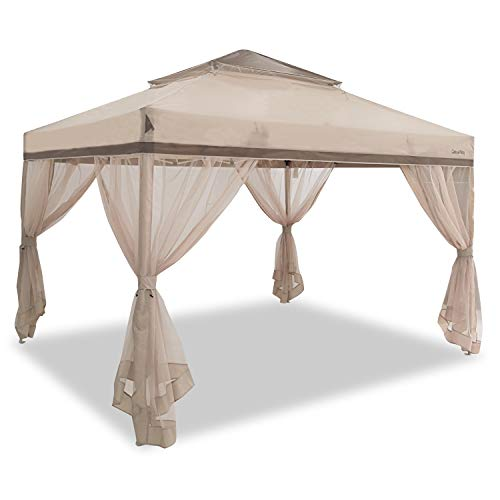 EzyFast Casualway 12'x10' Patio Garden Gazebo with Mosquito Netting, Instant Backyard Shelter, Screen House, Pop Up Canopy