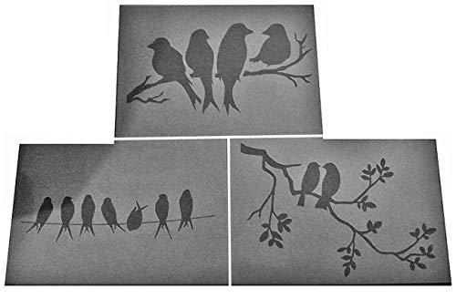 Shabby Chic Schablone 3x A5 (210 x 148 mm) Vögel im Baum Blätter aus Kunststoff