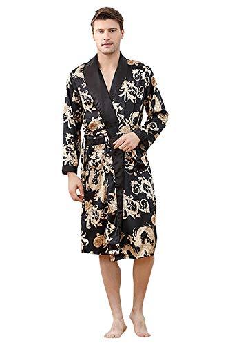 Hombres Pareja De Damas Bata Kimono Bañarse En La Mañana De Los Basic Hombres Bata De Seda De Imitación para Hombres Seda Nocturna Cálido Brillo Sauna Sauna Wellness SPA Fiesta Ropa