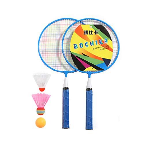 TOYANDONA Badminton Tennis Set Tennisschläger Badminton Schläger mit 3 Bälle für Kinder Anfänger Outdoor Garten Spielzeug Blau